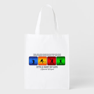 Cool Badminton It Is A Way Of Life Reusable Grocery Bag