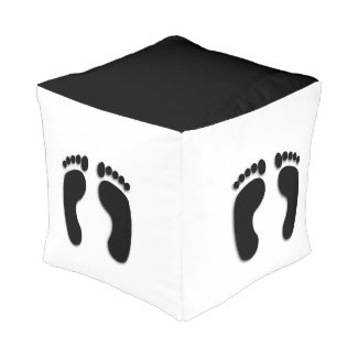 Cool Bare Foot Prints Cube Pouf