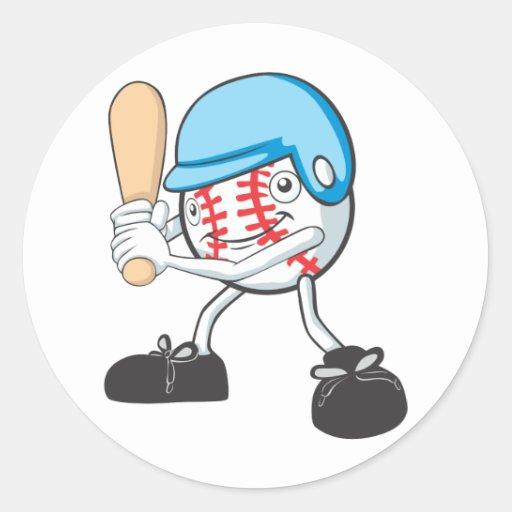 Cool Baseball Batter Cartoon Round Stickers