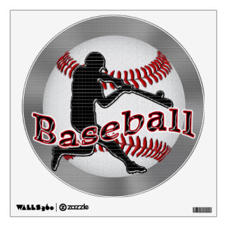 Cool Baseball Decals with Techno Batter and Ball Room Stickers