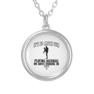 cool Baseball DESIGNS Round Pendant Necklace