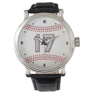 Cool Baseball Player Number 17 - Stitches Look Wristwatch
