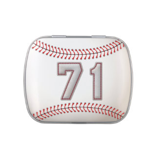 Cool Baseball Player Number 71 - Stitches Look Jelly Belly Candy Tin
