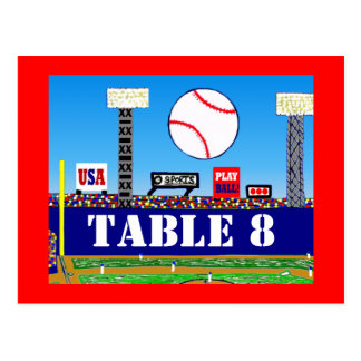 Cool Baseball Sport Bar Mitzvah Table Number Card