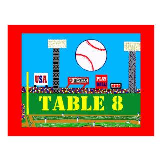 Cool Baseball Sport Bar Mitzvah Table Number Card Post Card