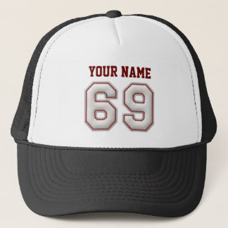 Cool Baseball Stitches - Custom Name and Number 69 Trucker Hat