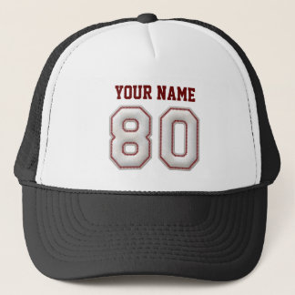 Cool Baseball Stitches - Custom Name and Number 80 Trucker Hat