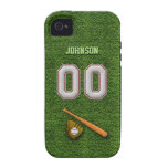 Cool Baseball Stitches - Custom Number 00 and Name iPhone 4/4S Case