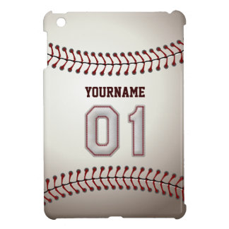 Cool Baseball Stitches - Custom Number 01 and Name Cover For The iPad Mini