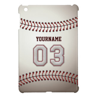 Cool Baseball Stitches - Custom Number 03 and Name Cover For The iPad Mini