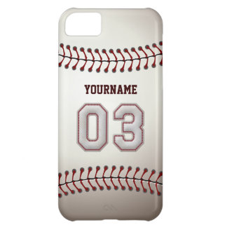 Cool Baseball Stitches - Custom Number 03 and Name iPhone 5C Covers