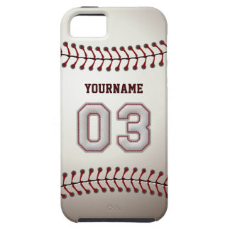Cool Baseball Stitches - Custom Number 03 and Name iPhone SE/5/5s Case
