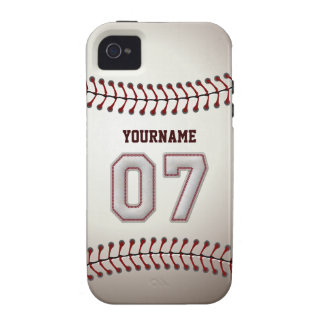 Cool Baseball Stitches - Custom Number 07 and Name iPhone 4 Case
