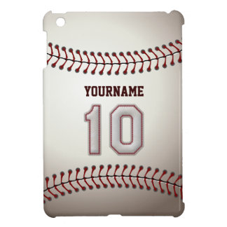 Cool Baseball Stitches - Custom Number 10 and Name iPad Mini Cases