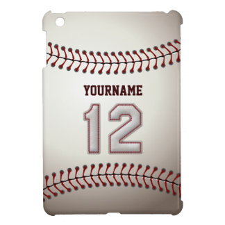 Cool Baseball Stitches - Custom Number 12 and Name iPad Mini Cases