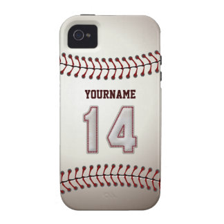 Cool Baseball Stitches - Custom Number 14 and Name Vibe iPhone 4 Covers