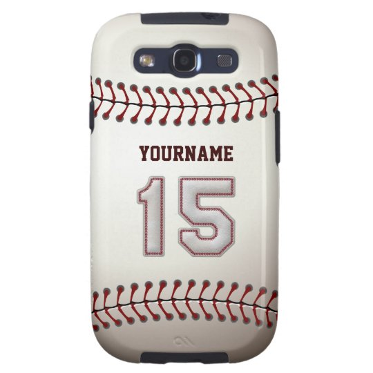 Cool Baseball Stitches - Custom Number 15 and Name Galaxy S3 Case