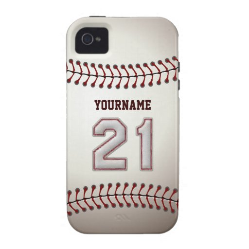 Cool Baseball Stitches - Custom Number 21 and Name Vibe iPhone 4 Cover