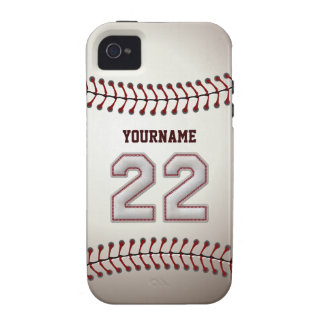 Cool Baseball Stitches - Custom Number 22 and Name iPhone 4 Case