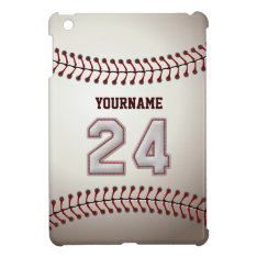 Cool Baseball Stitches - Custom Number 24 And Name Ipad Mini Cases at Zazzle