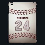 "Cool Baseball Stitches - Custom Number 24 and Name iPad Mini Cover<br><div class=""desc"">This unique design and number are specially created to imitate Baseball Stitches Look. 