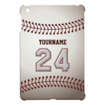 Cool Baseball Stitches - Custom Number 24 and Name iPad Mini Cover