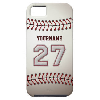 Cool Baseball Stitches - Custom Number 27 and Name iPhone 5 Covers