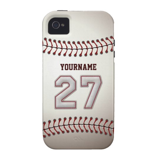 Cool Baseball Stitches - Custom Number 27 and Name Vibe iPhone 4 Cover