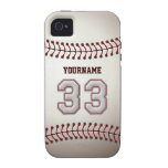 Cool Baseball Stitches - Custom Number 33 and Name Vibe iPhone 4 Case