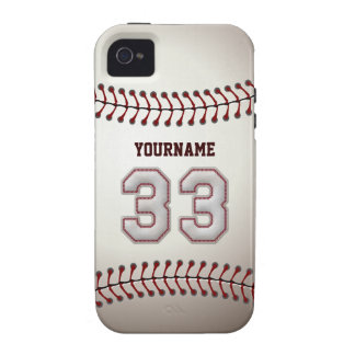 Cool Baseball Stitches - Custom Number 33 and Name iPhone 4 Covers