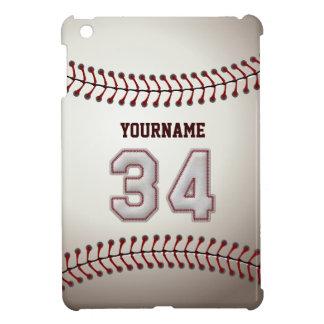 Cool Baseball Stitches - Custom Number 34 and Name iPad Mini Covers