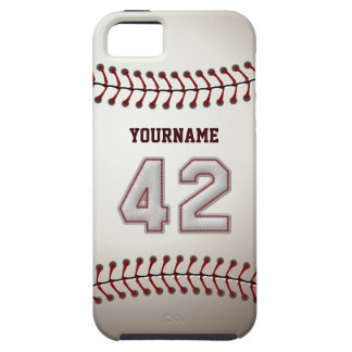Cool Baseball Stitches - Custom Number 42 and Name iPhone SE/5/5s Case