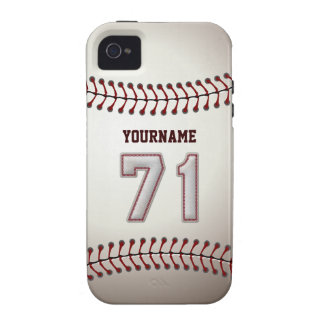 Cool Baseball Stitches - Custom Number 71 and Name iPhone 4/4S Case