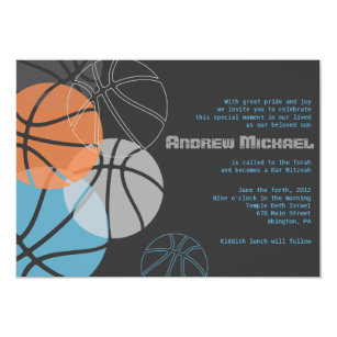 Basketball Themed Bar Mitzvah Invitations Announcements Zazzle