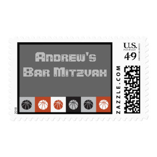 COOL BASKETBALL Bar Bat Mitzvah Invitation Stamp