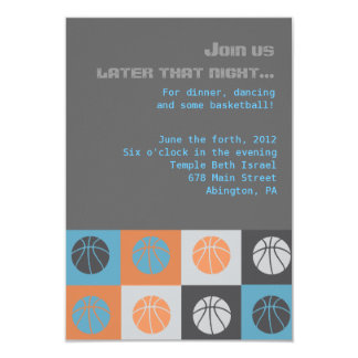 COOL BASKETBALL Bar Bat Mitzvah Party Card Personalized Invitations