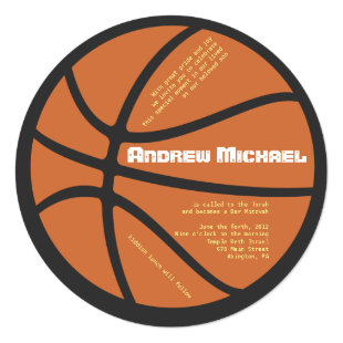 COOL BASKETBALL Bar Bat Mitzvah Round Invitation