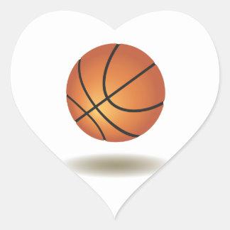 Cool Basketball Emblem Heart Sticker