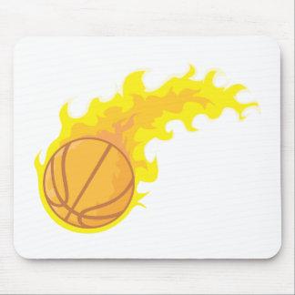 Cool Basketball Fire Icon Logo Shirt Mouse Pad