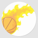 Cool Basketball Fire Icon Logo Shirt Round Sticker