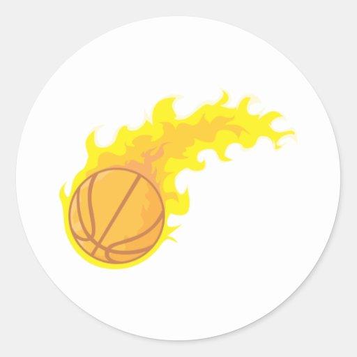 Cool Basketball Fire Icon Logo Shirt Classic Round Sticker
