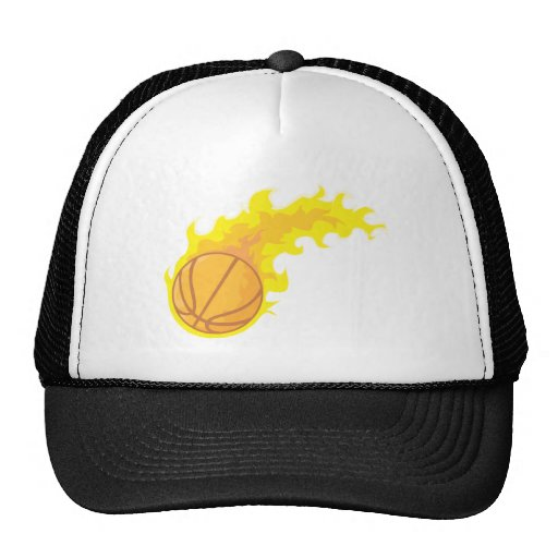 Cool Basketball Fire Icon Logo Shirt Trucker Hat