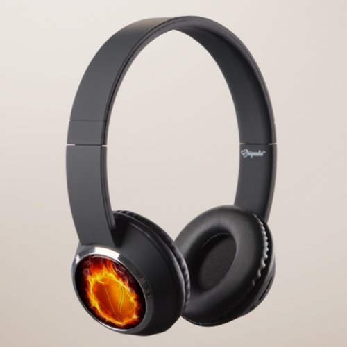 Cool Basketball Of Fire Basket Ball On Fire Headphones