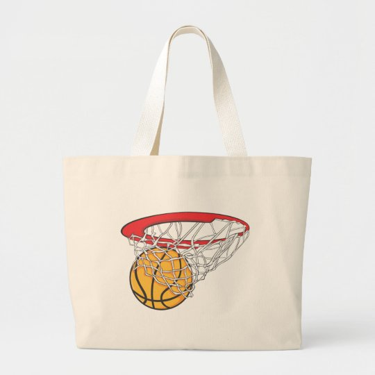 Cool Basketball Shoot in Ring Net Shirt Large Tote Bag