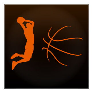 Cool Basketball Silhouette Illustration Poster