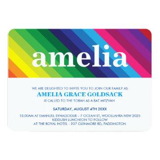 COOL BAT MITZVAH bold colorful rainbow stripe 5x7 Paper Invitation Card
