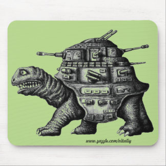 Cool battle turtle ink drawing mouse pad