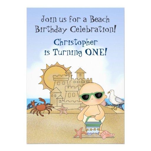 Cool Beach Baby 1st Birthday Invitation for Boys