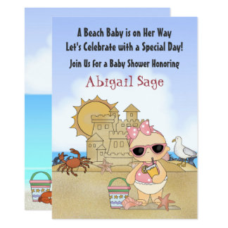 Cool Beach Baby Girls Baby Shower Invitation