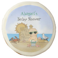 Cool Beach Baby Shower Favor Cookies ~ Neutral